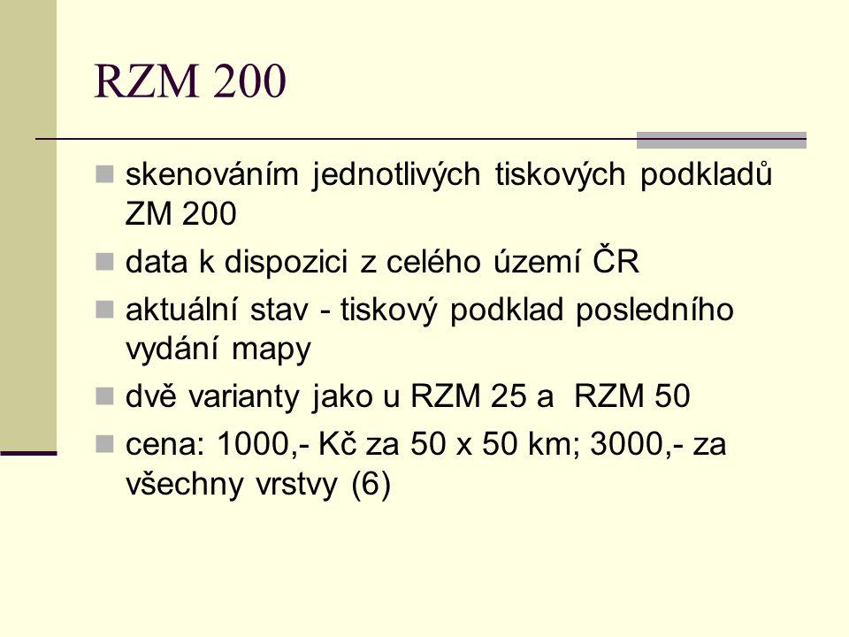RZM 200 skenováním jednotlivých tiskových podkladů ZM 200 data k dispozici z celého území ČR aktuální stav - tiskový podklad posledního vydání mapy dv