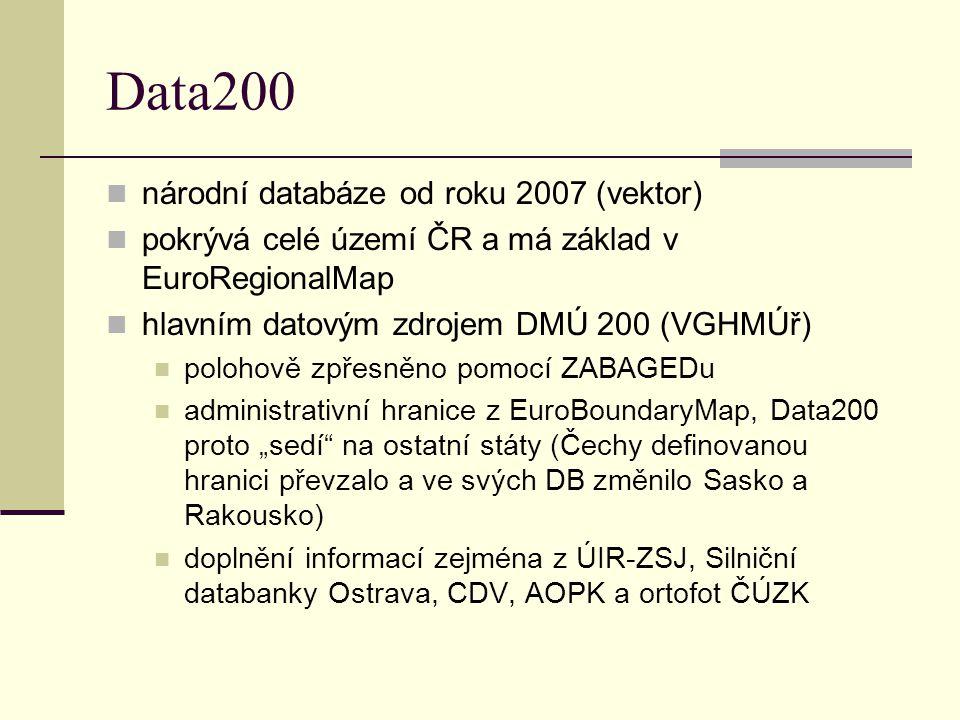 Data200 národní databáze od roku 2007 (vektor) pokrývá celé území ČR a má základ v EuroRegionalMap hlavním datovým zdrojem DMÚ 200 (VGHMÚř) polohově z