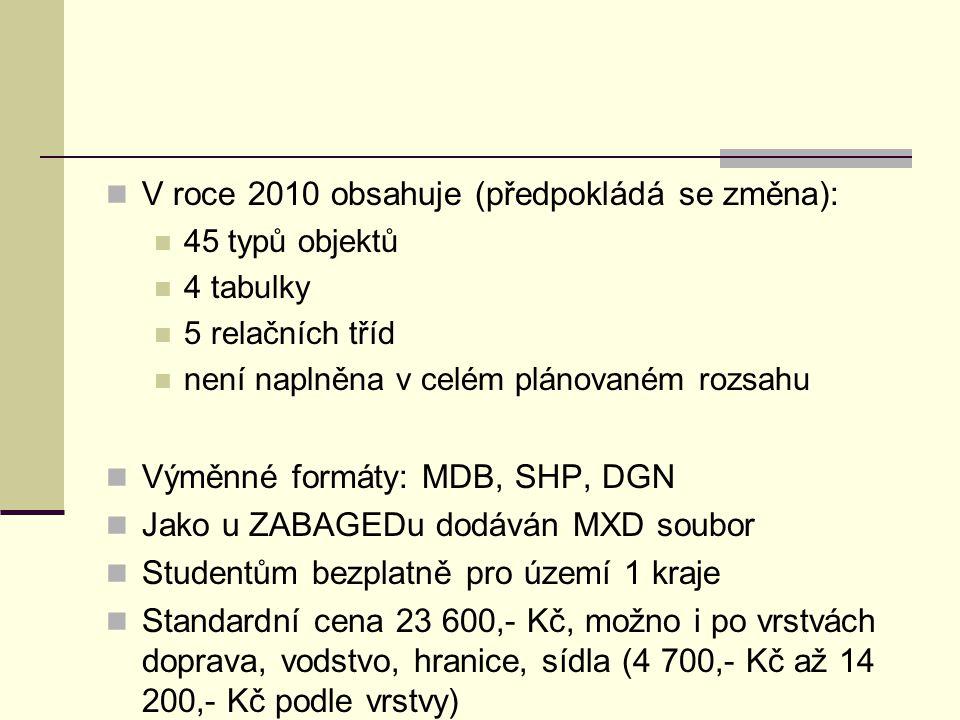 V roce 2010 obsahuje (předpokládá se změna): 45 typů objektů 4 tabulky 5 relačních tříd není naplněna v celém plánovaném rozsahu Výměnné formáty: MDB,