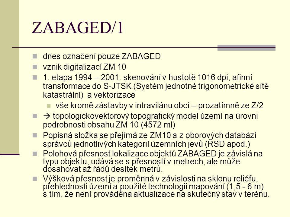 ZABAGED/1 dnes označení pouze ZABAGED vznik digitalizací ZM 10 1. etapa 1994 – 2001: skenování v hustotě 1016 dpi, afinní transformace do S-JTSK (Syst