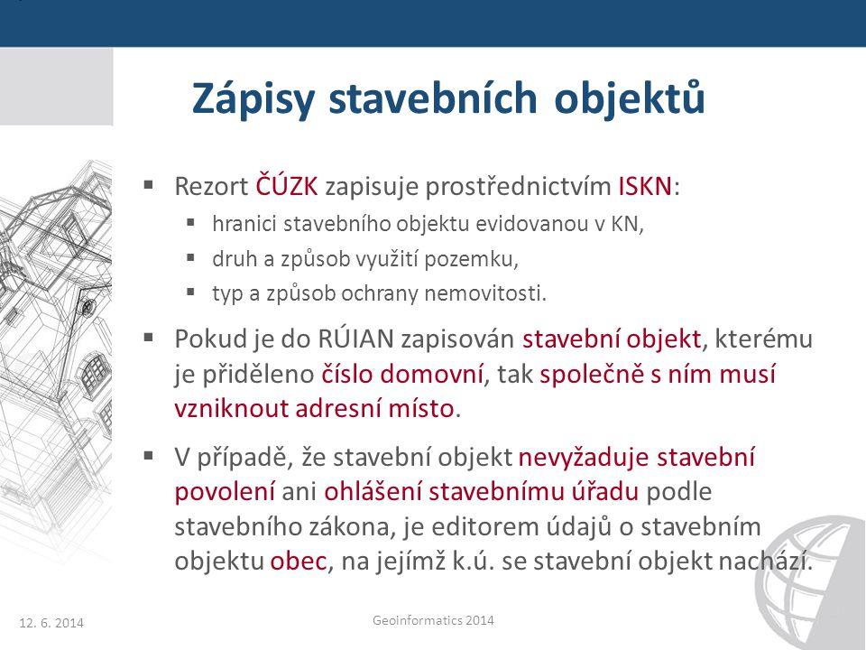 Zápisy stavebních objektů  Rezort ČÚZK zapisuje prostřednictvím ISKN:  hranici stavebního objektu evidovanou v KN,  druh a způsob využití pozemku,