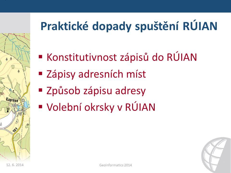 Praktické dopady spuštění RÚIAN  Konstitutivnost zápisů do RÚIAN  Zápisy adresních míst  Způsob zápisu adresy  Volební okrsky v RÚIAN 12. 6. 2014