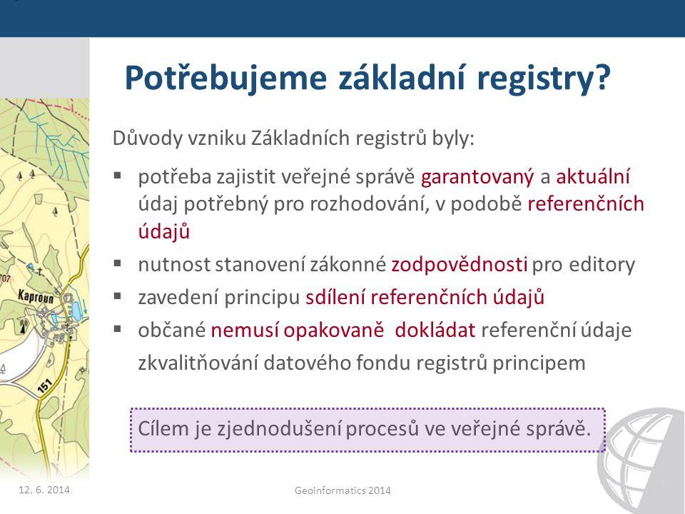 Potřebujeme základní registry? Důvody vzniku Základních registrů byly:  potřeba zajistit veřejné správě garantovaný a aktuální údaj potřebný pro rozh