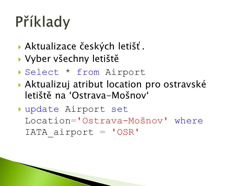  Aktualizace českých letišť.