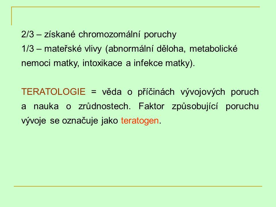 2/3 – získané chromozomální poruchy 1/3 – mateřské vlivy (abnormální děloha, metabolické nemoci matky, intoxikace a infekce matky). TERATOLOGIE = věda
