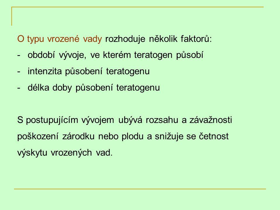 O typu vrozené vady rozhoduje několik faktorů: -období vývoje, ve kterém teratogen působí -intenzita působení teratogenu -délka doby působení teratoge