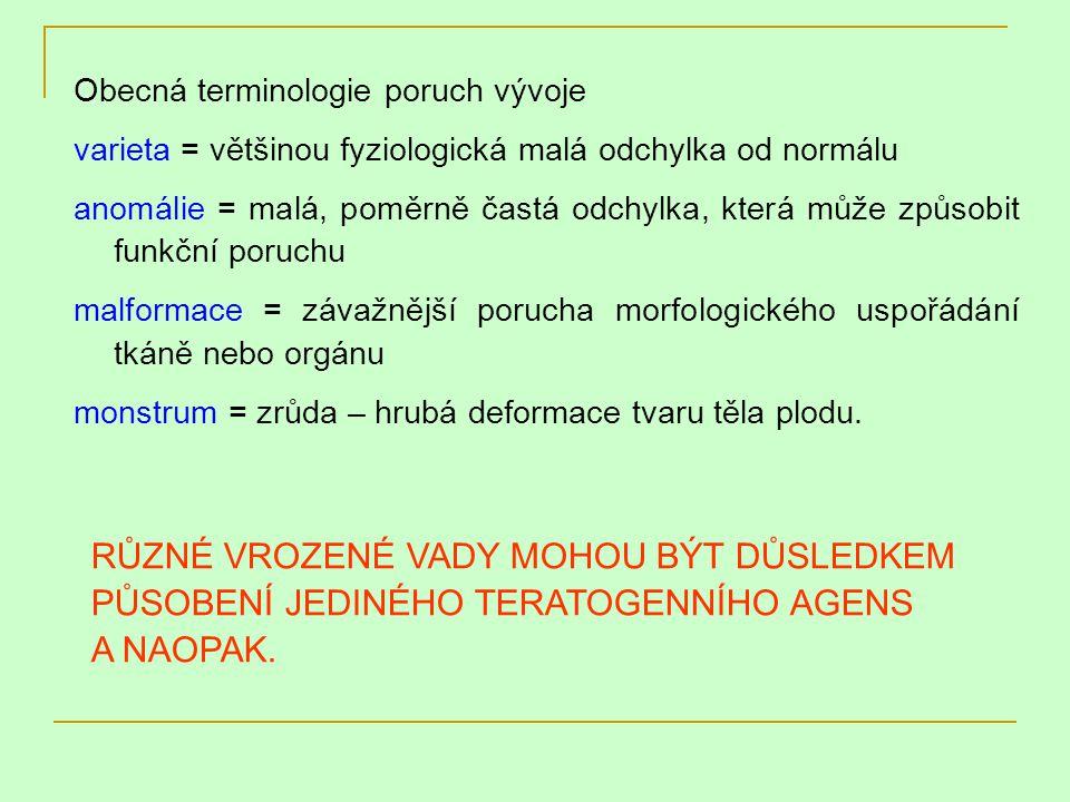 Obecná terminologie poruch vývoje varieta = většinou fyziologická malá odchylka od normálu anomálie = malá, poměrně častá odchylka, která může způsobi