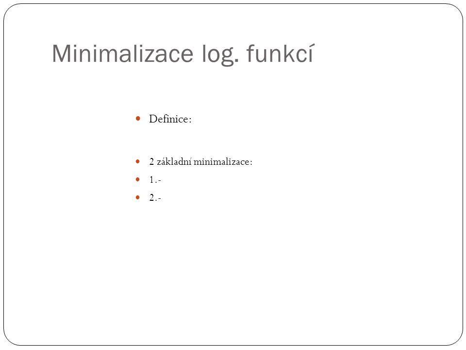 Minimalizace log. funkcí Definice: 2 základní minimalizace: 1.- 2.-