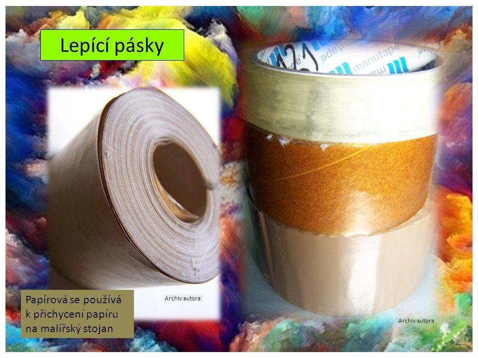 ©c.zuk Lepící pásky Archiv autora Papírová se používá k přichycení papíru na malířský stojan