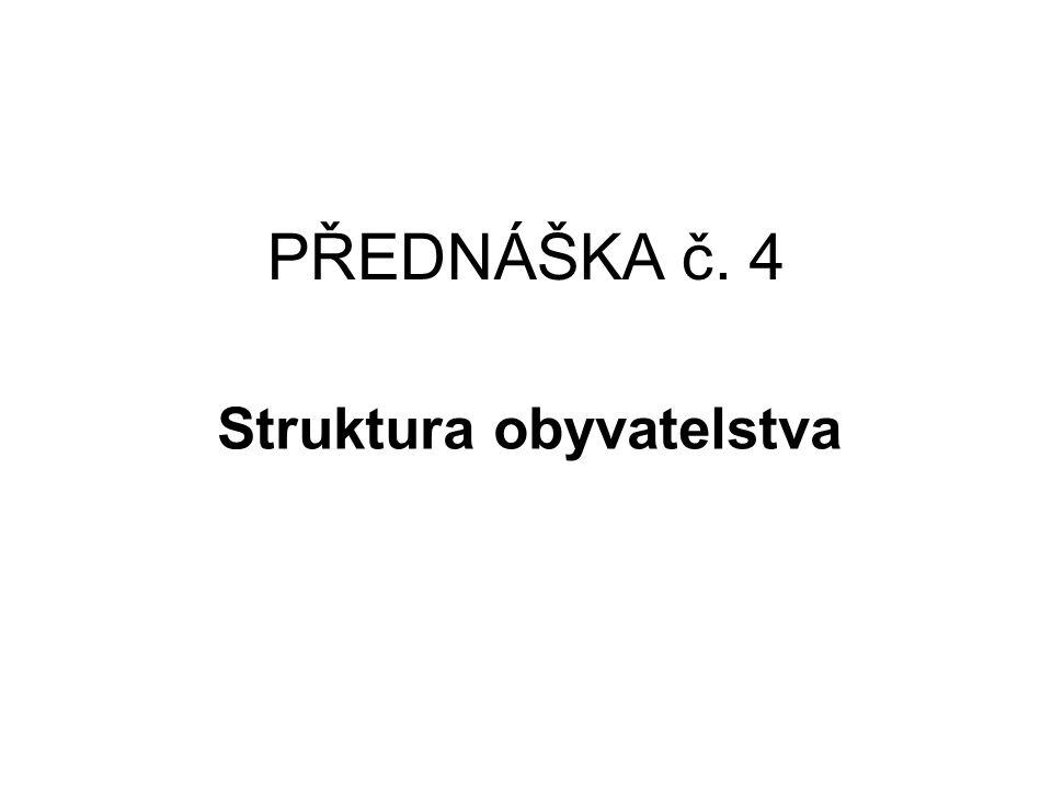 STRUKTURA OBYVATELSTVA PODLE POHLAVÍ A VĚKU Pohlaví obyvatelstva je jednou z charakteristik, která může přispět k typologii populace Poměr pohlaví je výsledkem několika spolupůsobících fenoménů: 1)Poměr pohlaví živě narozených dětí (jak je tomu v ČR?) 2)Pohlavně diferencovaná úmrtnost (mužská nadúmrtnost) (ve kterém věku asi začíná a proč?) 3)Zevní faktory jako druh migrace, dramatické události (války)..