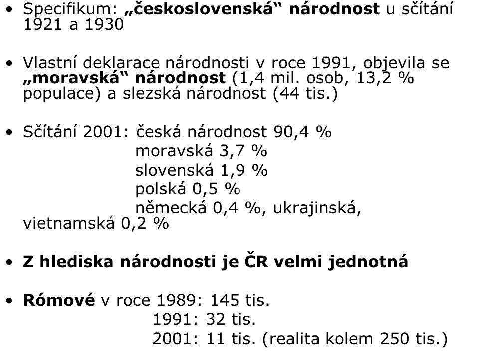 """Specifikum: """"československá"""" národnost u sčítání 1921 a 1930 Vlastní deklarace národnosti v roce 1991, objevila se """"moravská"""" národnost (1,4 mil. osob"""