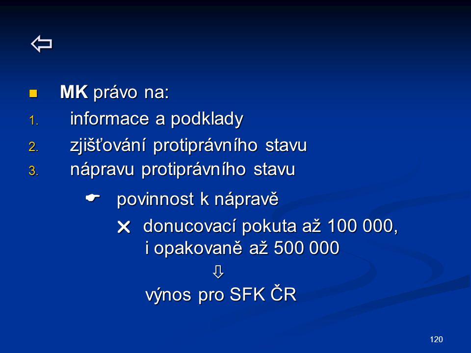 120  MK právo na: MK právo na: 1. informace a podklady 2. zjišťování protiprávního stavu 3. nápravu protiprávního stavu  povinnost k nápravě  povin