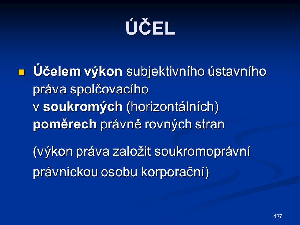 127 ÚČEL Účelem výkon subjektivního ústavního Účelem výkon subjektivního ústavního práva spolčovacího práva spolčovacího v soukromých (horizontálních)