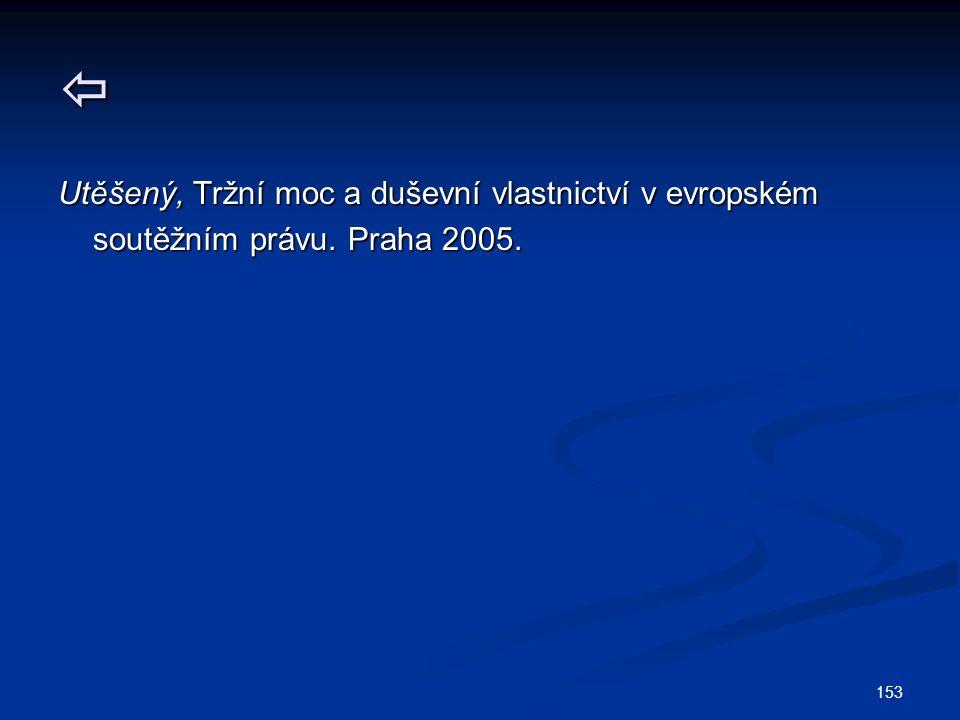 153  Utěšený, Tržní moc a duševní vlastnictví v evropském soutěžním právu. Praha 2005. soutěžním právu. Praha 2005.