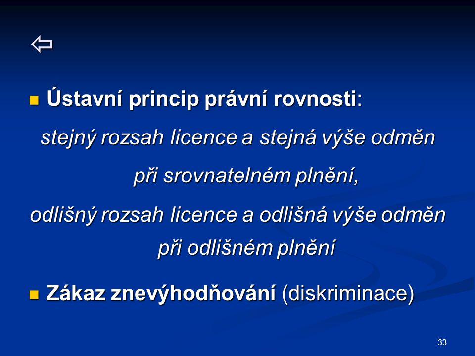 33  Ústavní princip právní rovnosti: Ústavní princip právní rovnosti: stejný rozsah licence a stejná výše odměn při srovnatelném plnění, odlišný rozs