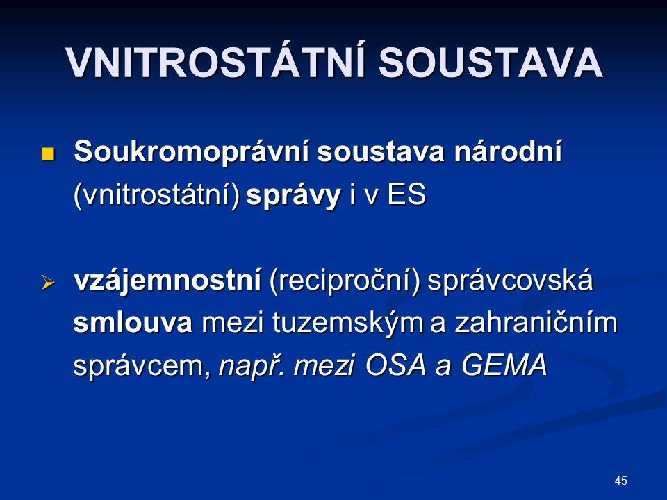 45 VNITROSTÁTNÍ SOUSTAVA Soukromoprávní soustava národní Soukromoprávní soustava národní (vnitrostátní) správy i v ES (vnitrostátní) správy i v ES  v