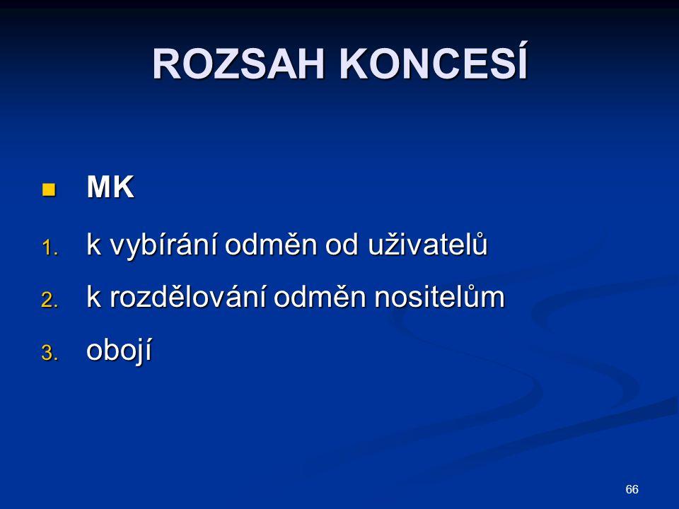 66 ROZSAH KONCESÍ MK MK 1. k vybírání odměn od uživatelů 2. k rozdělování odměn nositelům 3. obojí