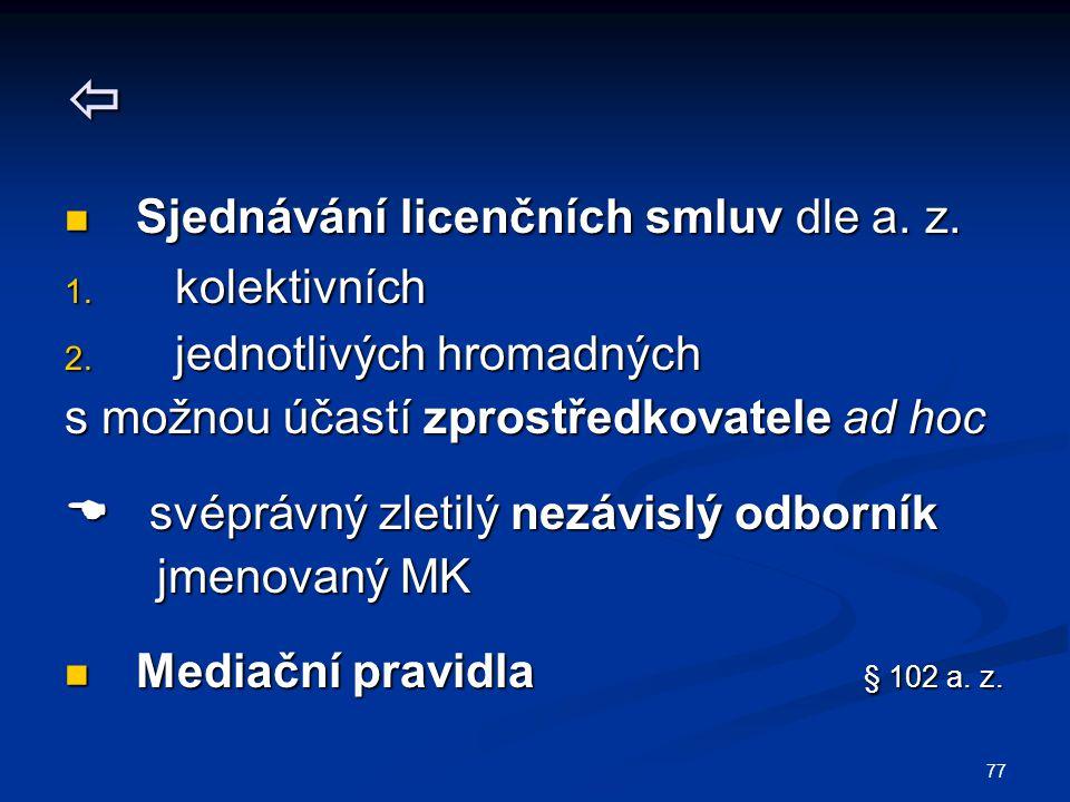 77  Sjednávání licenčních smluv dle a. z. Sjednávání licenčních smluv dle a. z. 1. kolektivních 2. jednotlivých hromadných s možnou účastí zprostředk