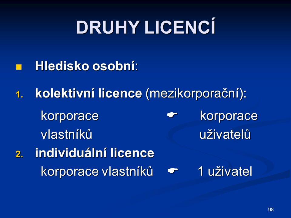 98 DRUHY LICENCÍ Hledisko osobní: Hledisko osobní: 1. kolektivní licence (mezikorporační): korporace  korporace korporace  korporace vlastníků uživa