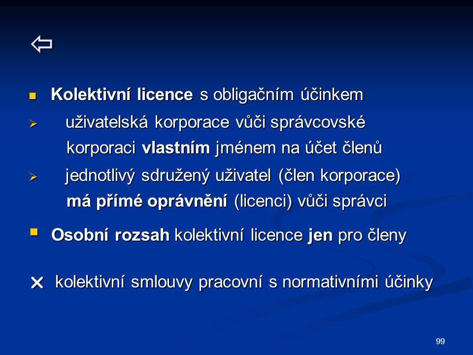 99  Kolektivní licence s obligačním účinkem Kolektivní licence s obligačním účinkem  uživatelská korporace vůči správcovské korporaci vlastním jméne