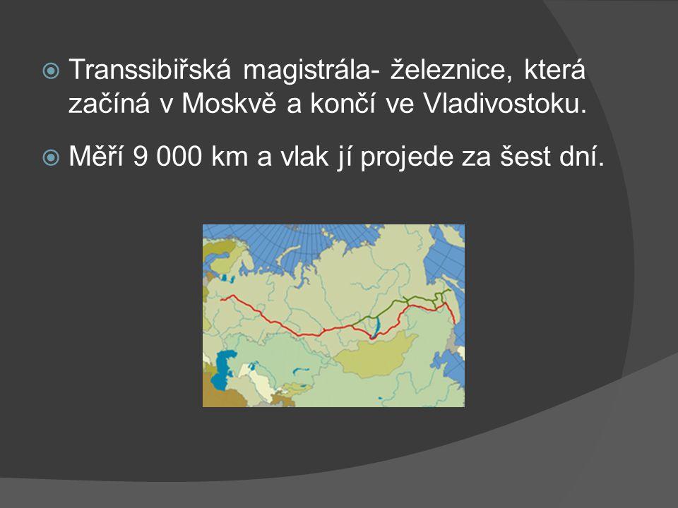  Transsibiřská magistrála- železnice, která začíná v Moskvě a končí ve Vladivostoku.  Měří 9 000 km a vlak jí projede za šest dní.
