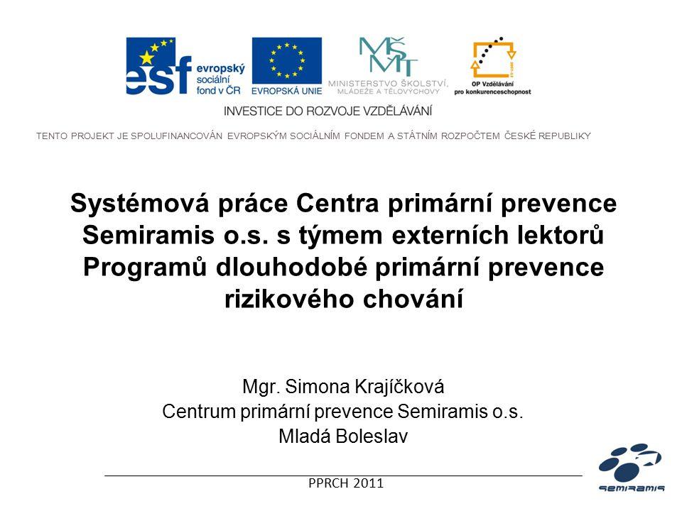 PPRCH 2011 Poskytované služby Centra PP Programy dlouhodobé primární prevence rizikového chování pro II.