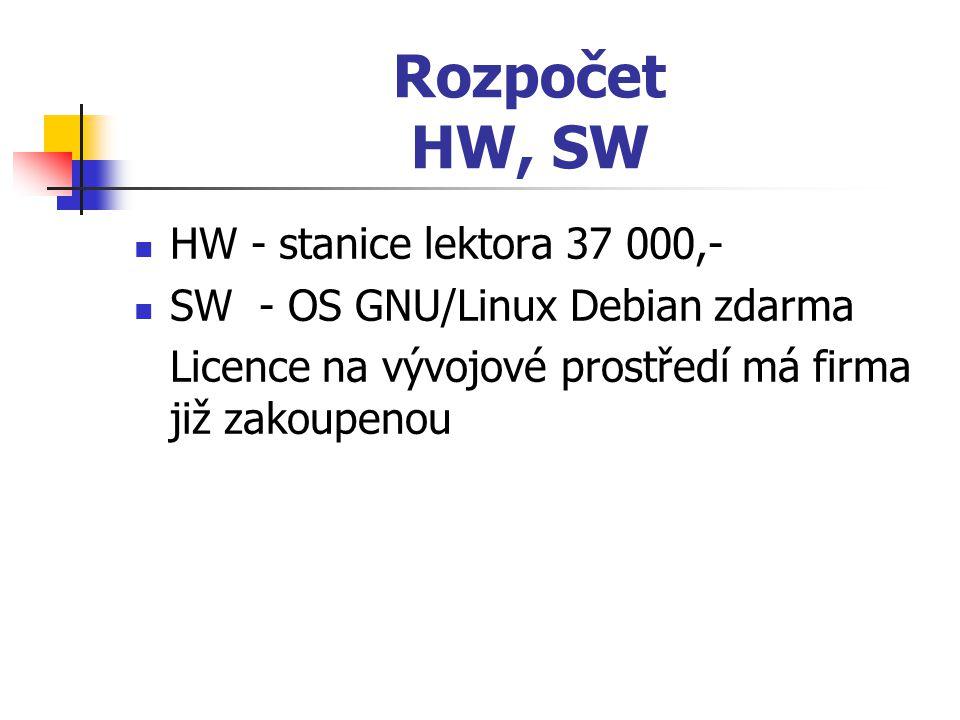 Rozpočet HW, SW HW - stanice lektora 37 000,- SW - OS GNU/Linux Debian zdarma Licence na vývojové prostředí má firma již zakoupenou
