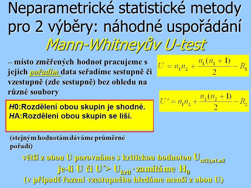 Neparametrické statistické metody pro 2 výběry: náhodné uspořádání Mann-Whitneyův U-test -- místo změřených hodnot pracujeme s jejich pořadím data seř