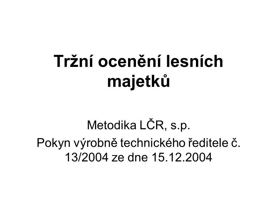 Metodika LČR (jen dřevoprodukční funkce lesního majetku): Předpokladem pro použití jakékoliv metody tržního ocenění je odpovídající, tj.