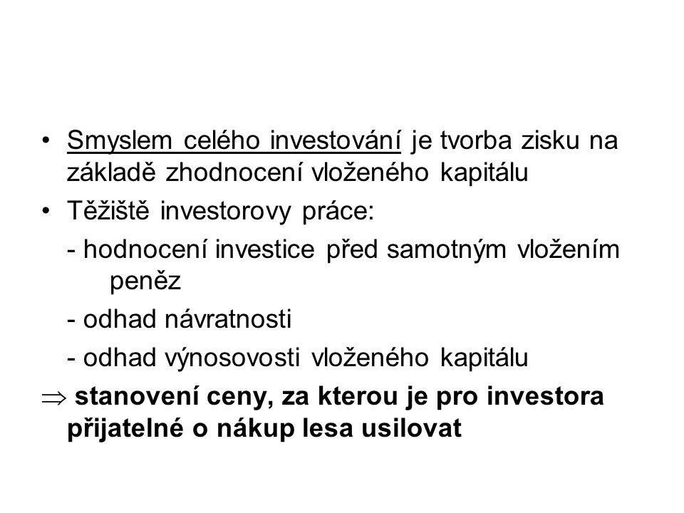 Smyslem celého investování je tvorba zisku na základě zhodnocení vloženého kapitálu Těžiště investorovy práce: - hodnocení investice před samotným vlo