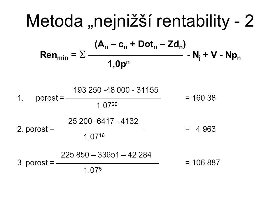 """Metoda """"nejnižší rentability - 2 (A n – c n + Dot n – Zd n ) Ren min =   - N j + V - Np n 1,0p n 193 250 -48 000 - 31155 1.porost = """