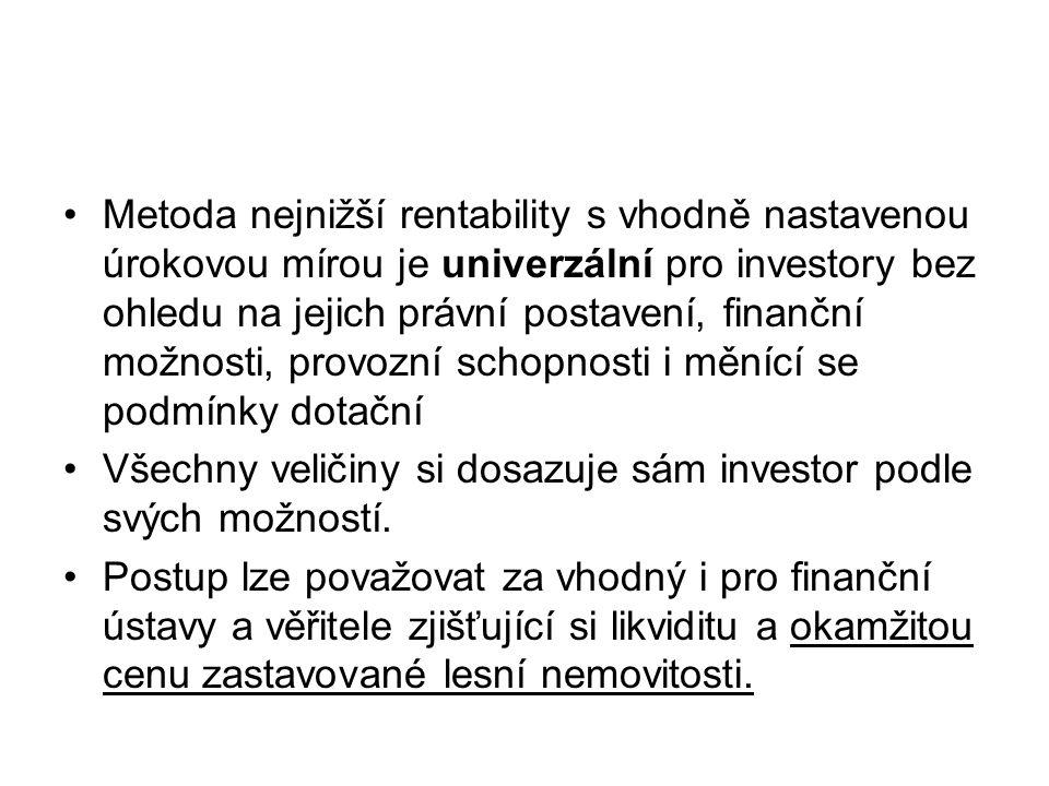 Metoda nejnižší rentability s vhodně nastavenou úrokovou mírou je univerzální pro investory bez ohledu na jejich právní postavení, finanční možnosti,