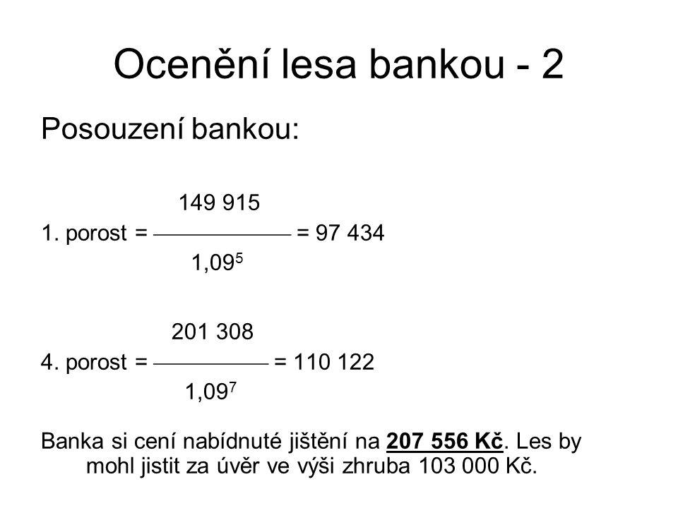 Ocenění lesa bankou - 2 Posouzení bankou: 149 915 1. porost =  = 97 434 1,09 5 201 308 4. porost =  = 110 122 1,09 7 Banka si cení nabídnut