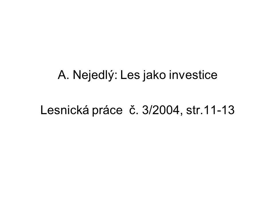 A. Nejedlý: Les jako investice Lesnická práce č. 3/2004, str.11-13