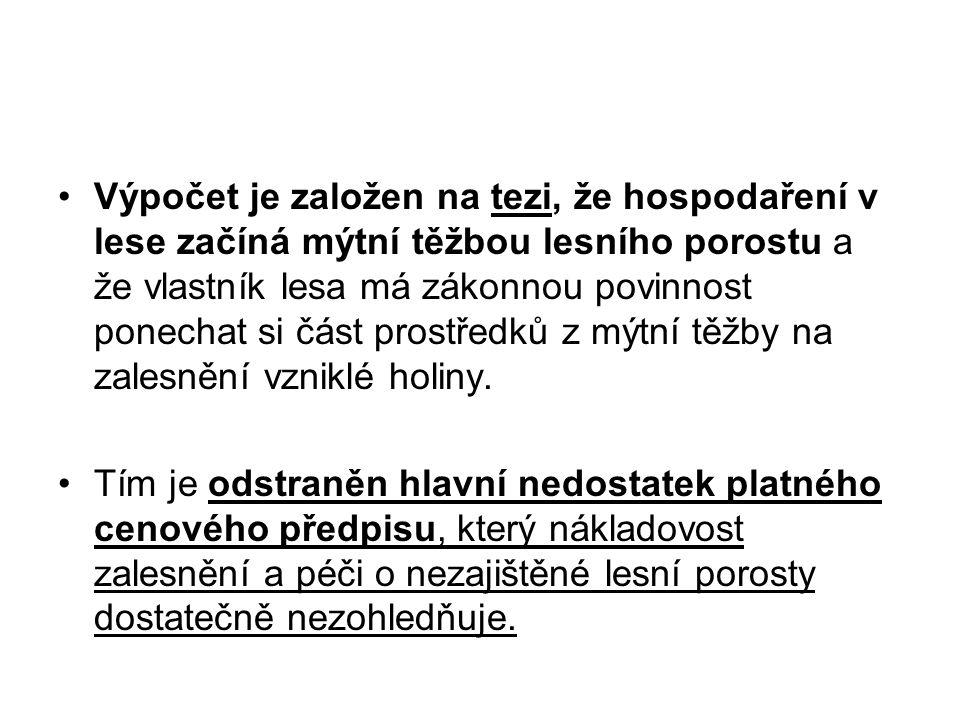 Postup tržního ocenění lesního majetku porovnávací metodou LČR 1)Výpočet zákl.