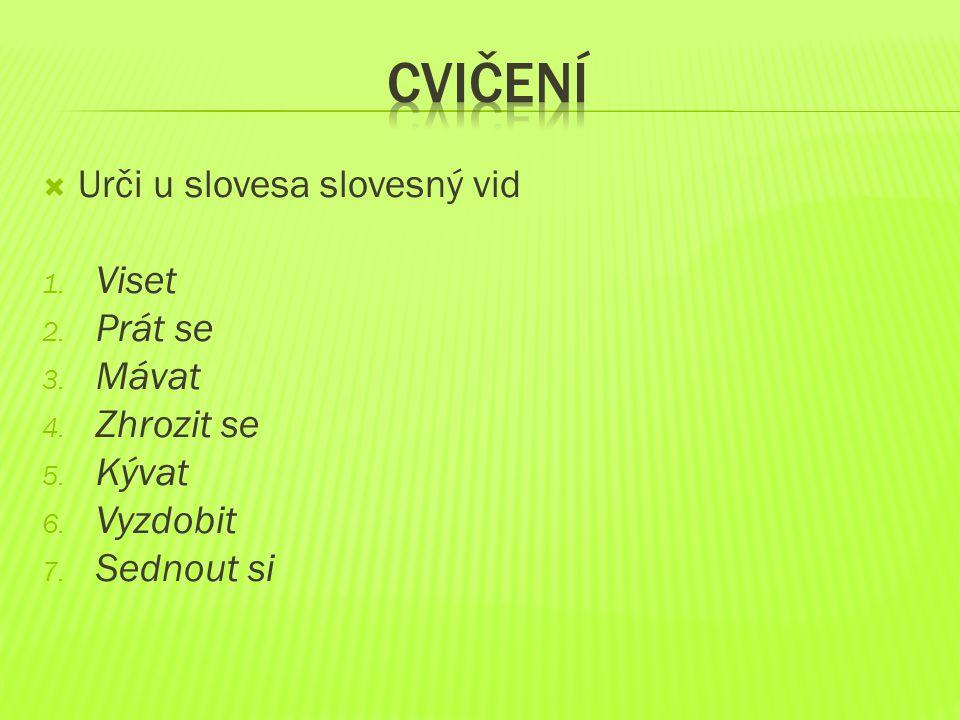  Urči u slovesa slovesný vid 1.Viset (N) 2. Prát se (D) 3.