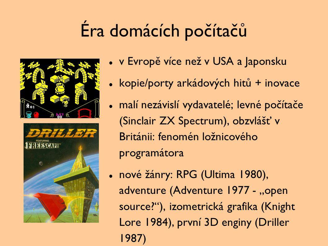 Éra domácích počítačů v Evropě více než v USA a Japonsku kopie/porty arkádových hitů + inovace malí nezávislí vydavatelé; levné počítače (Sinclair ZX