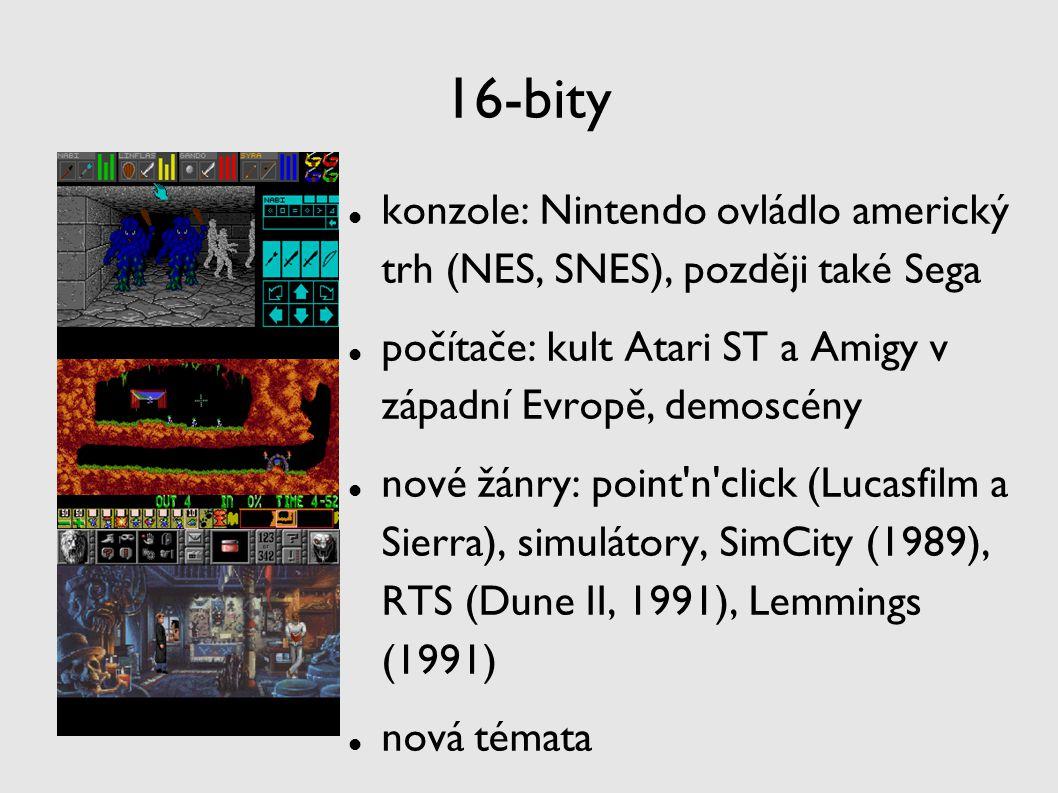 16-bity konzole: Nintendo ovládlo americký trh (NES, SNES), později také Sega počítače: kult Atari ST a Amigy v západní Evropě, demoscény nové žánry: