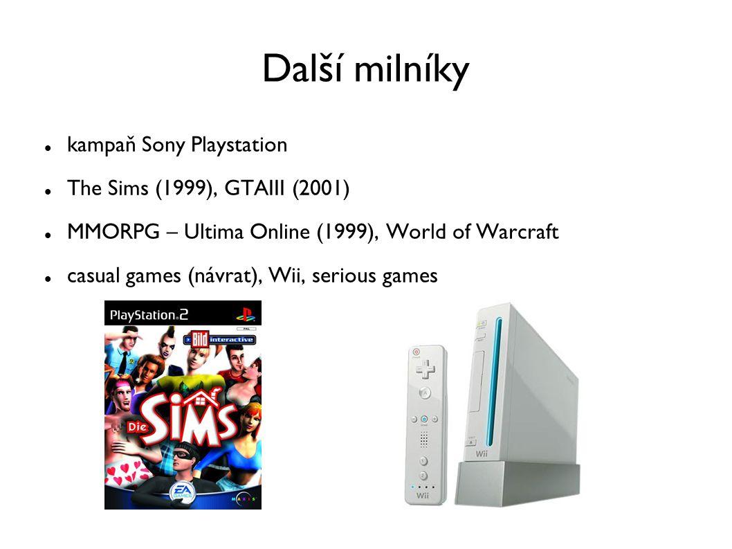 Další milníky kampaň Sony Playstation The Sims (1999), GTAIII (2001) MMORPG – Ultima Online (1999), World of Warcraft casual games (návrat), Wii, seri