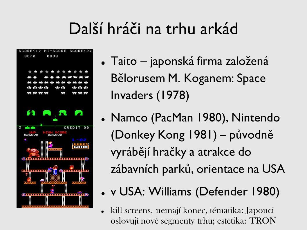 Další hráči na trhu arkád Taito – japonská firma založená Bělorusem M. Koganem: Space Invaders (1978) Namco (PacMan 1980), Nintendo (Donkey Kong 1981)