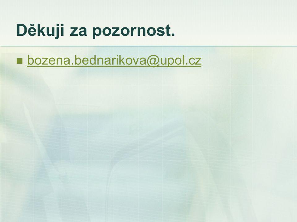 Děkuji za pozornost. bozena.bednarikova@upol.cz