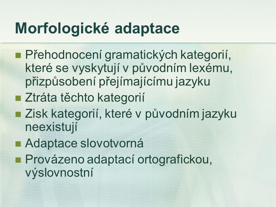 Morfologické adaptace Přehodnocení gramatických kategorií, které se vyskytují v původním lexému, přizpůsobení přejímajícímu jazyku Ztráta těchto kategorií Zisk kategorií, které v původním jazyku neexistují Adaptace slovotvorná Provázeno adaptací ortografickou, výslovnostní