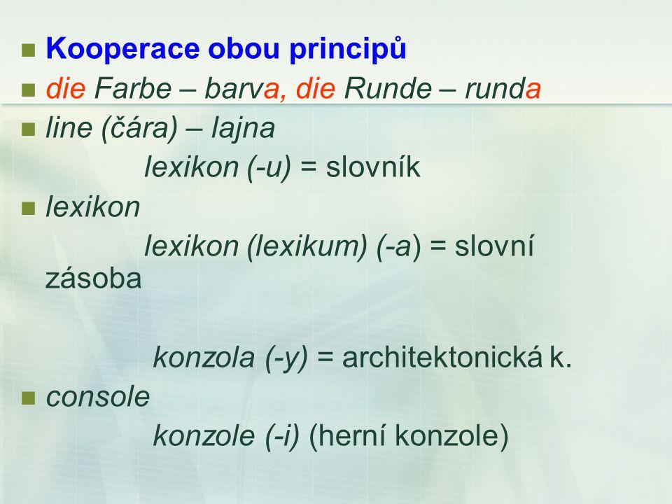 Kooperace obou principů die Farbe – barva, die Runde – runda line (čára) – lajna lexikon (-u) = slovník lexikon lexikon (lexikum) (-a) = slovní zásoba konzola (-y) = architektonická k.