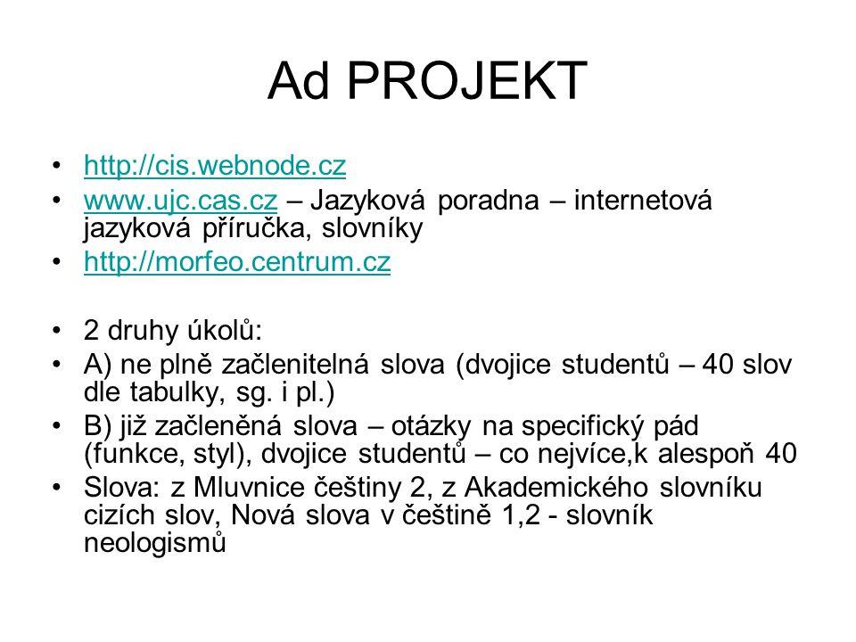 Ad PROJEKT http://cis.webnode.cz www.ujc.cas.cz – Jazyková poradna – internetová jazyková příručka, slovníkywww.ujc.cas.cz http://morfeo.centrum.cz 2 druhy úkolů: A) ne plně začlenitelná slova (dvojice studentů – 40 slov dle tabulky, sg.