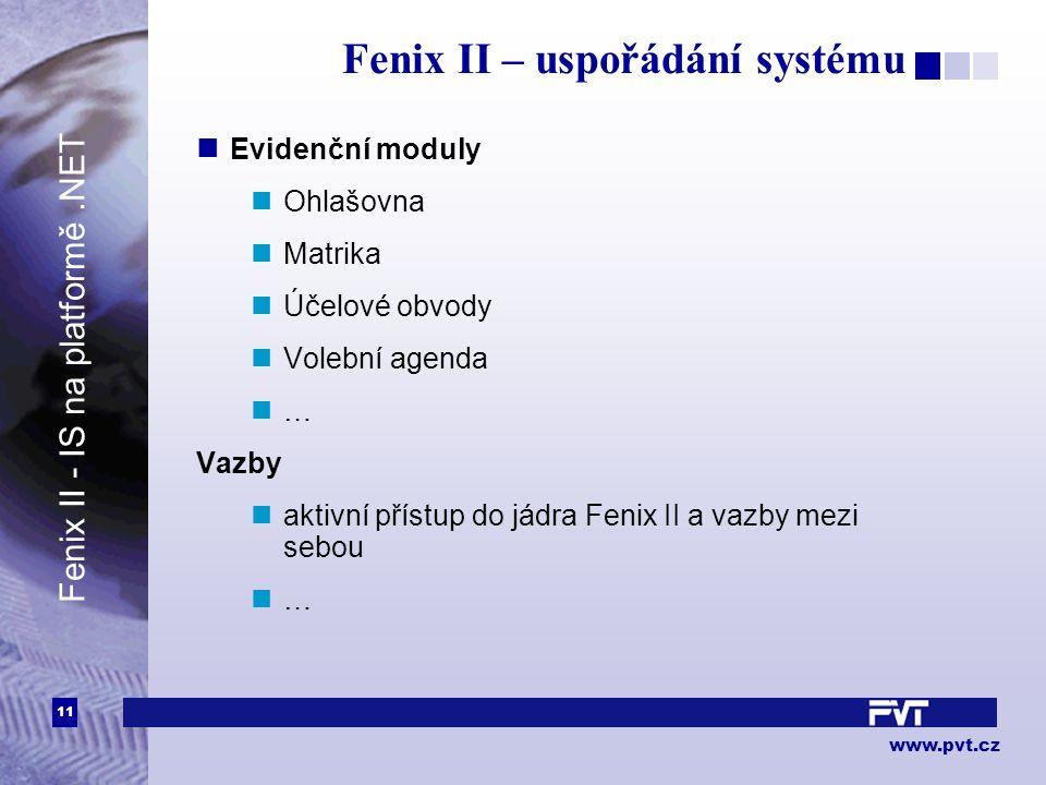 11 www.pvt.cz Fenix II – uspořádání systému Evidenční moduly Ohlašovna Matrika Účelové obvody Volební agenda … Vazby aktivní přístup do jádra Fenix II a vazby mezi sebou … Fenix II - IS na platformě.NET