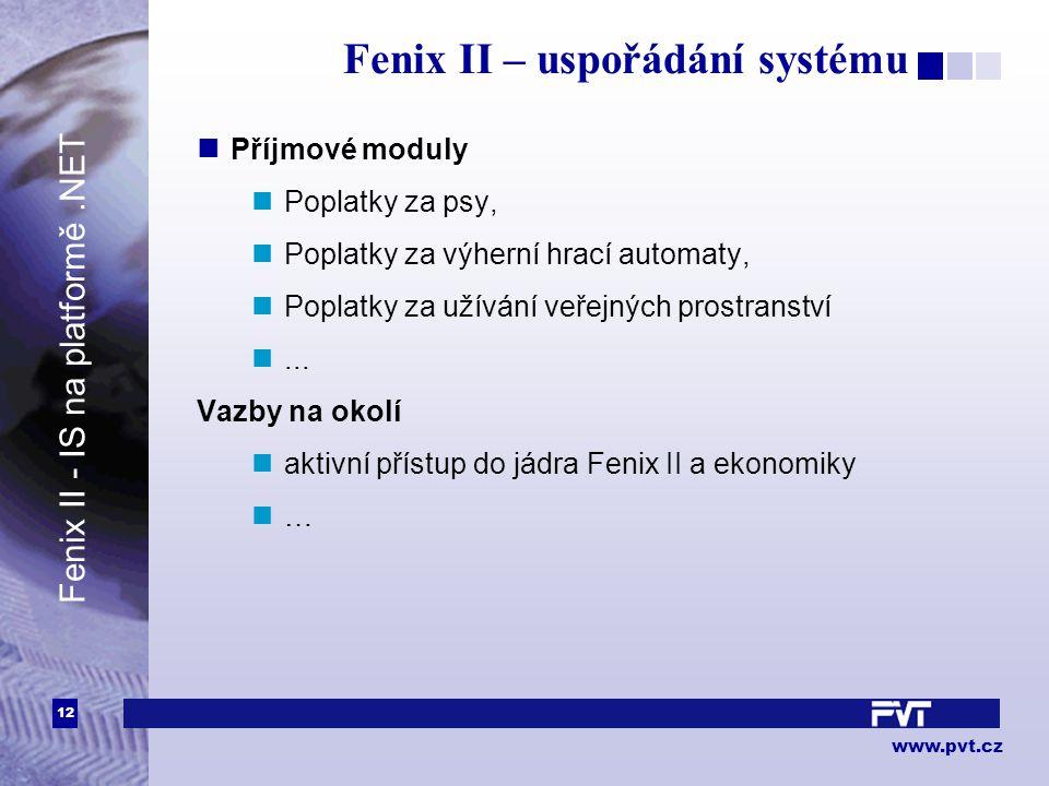 12 www.pvt.cz Fenix II – uspořádání systému Příjmové moduly Poplatky za psy, Poplatky za výherní hrací automaty, Poplatky za užívání veřejných prostranství...