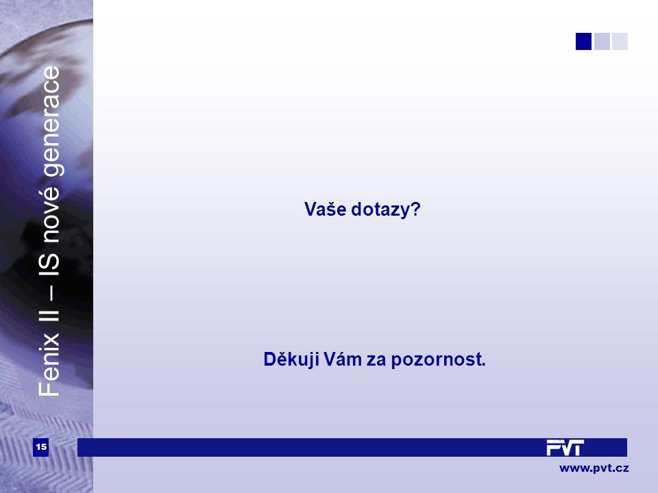 15 www.pvt.cz Fenix II – IS nové generace Děkuji Vám za pozornost. Vaše dotazy?