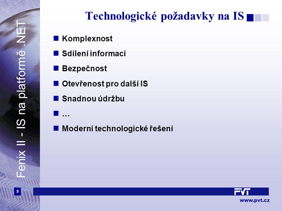 2 www.pvt.cz Technologické požadavky na IS Komplexnost Sdílení informací Bezpečnost Otevřenost pro další IS Snadnou údržbu … Moderní technologické řešení Fenix II - IS na platformě.NET