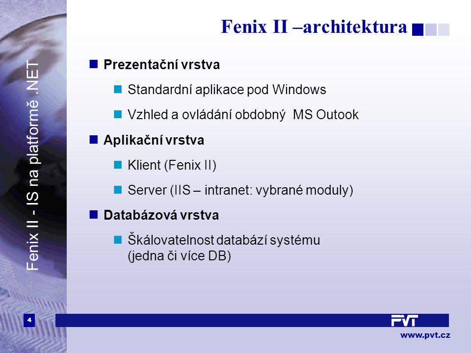 4 www.pvt.cz Fenix II –architektura Prezentační vrstva Standardní aplikace pod Windows Vzhled a ovládání obdobný MS Outook Aplikační vrstva Klient (Fe