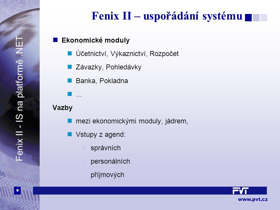 9 www.pvt.cz Fenix II – uspořádání systému Ekonomické moduly Účetnictví, Výkaznictví, Rozpočet Závazky, Pohledávky Banka, Pokladna... Vazby mezi ekono